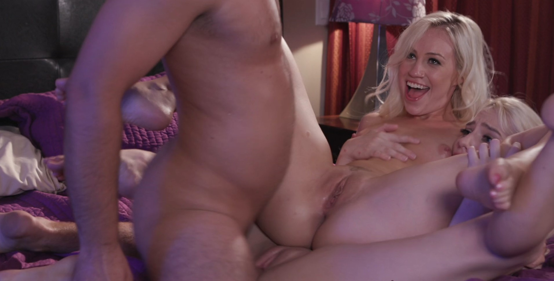 Kenna James, Lyra Law - Sexy blonde babes tag team a hot guy