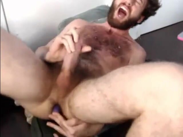 Bearded Hunk Plays with Vibrator Until He Cums 4